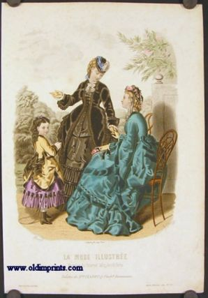 Hand colored engraving from La Mode Illustree. Toilettes de Mme. Fladry, 27 Faub 9....