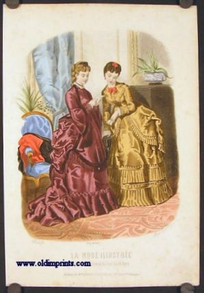 Hand colored engraving from La Mode Illustree. Toilettes de Mme. Breant-Castel, 28.r. Nue des...
