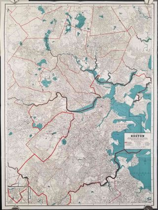 Cram's New-Indexed Street Map of the Boston Area including Arlington Belmont Boston Brookline...