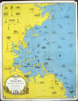 Map of Romantic Boston Bay. The Shore Line from Salem Harbor to Scituate Harbor. Designed and...