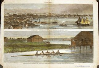 View of the City of Boston, Massachusetts, From the South. International Regatta -- The Harvard...