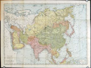 Asia Rand McNally Pocket Map. Political Divisions, Cities and Towns, Railroads, Waterways, etc....