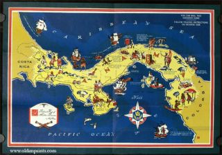 Pictorial Map of Historic Panama (map title). PANAMA CANAL.