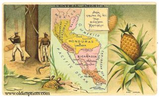 Central America. Arbuckle Bros. Coffee Co. trade card: map and vignette illustrations. CENTRAL...
