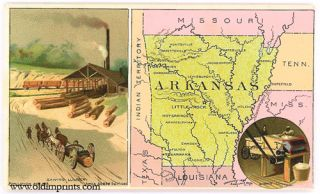 Arkansas. Arbuckle Bros. Coffee Co. trade card: map and vignette illustrations. ARKANSAS