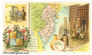 New Jersey. Arbuckle Bros. Coffee Co. trade card: map and vignette illustrations. NEW JERSEY