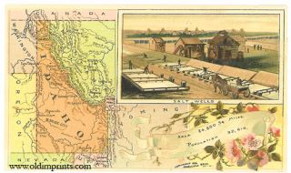 Idaho. Arbuckle Bros. Coffee Co. trade card: map and vignette illustrations. IDAHO