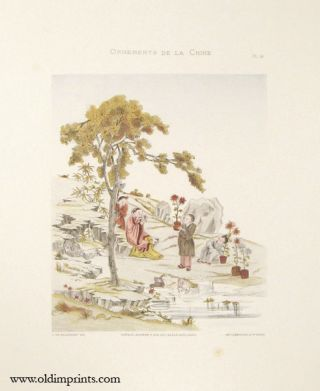 Ornements de la Chine. Plate 14. [Group planting chrysanthemums in rocky terrain]. CHINA - DECORATIVE ART.