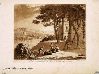 Landscape with four figures collecting and picking fruit from trees. From the Original Drawing, in the Collection of the Duke of Devonshire. Plate No. 58. LE LORRAIN.