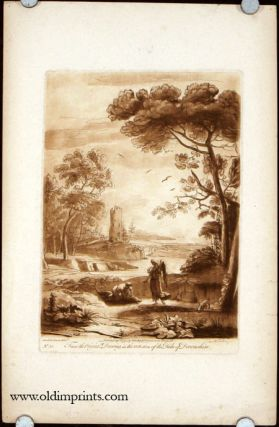 Landscape with angel in the foreground looking at a Jonah like figure with large fish. From the Original Drawing, in the Collection of the Duke of Devonshire. Plate No. 50. LE LORRAIN.