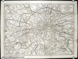 The Times Road Map of London Showing Main Roads new Arterial Roads and By-passes.
