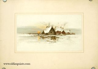 PAIR OF CHROMOLITHOGRAPHS - Dutch Landscape Scenes with Cottages and with Mill. LANDSCAPE.