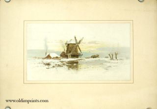 PAIR OF CHROMOLITHOGRAPHS - Dutch Landscape Scenes with Cottages and with Mill.