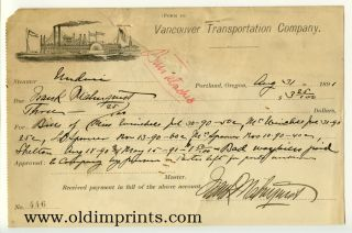 Receipt from the Vancouver Transportation Company. August 31, 1891. STEAMSHIPS.