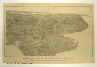 Bird's-Eye View of the Borough of Brooklyn. NEW YORK - BROOKLYN