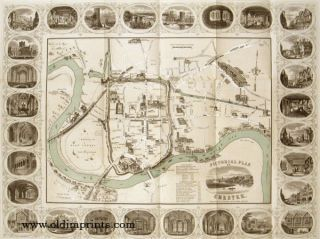 Pictorial Plan of Chester. ENGLAND - CHESTER