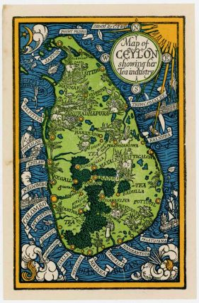 Map of Ceylon showing her Tea industry. SRI LANKA / CEYLON