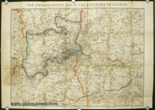 The Excursionist's Map of the Environs of London. Compiled specially to exhibit all the principal...