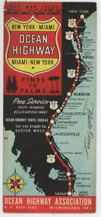 Ocean Highway. New York. Miami. Pines to Palms. Map title: Ocean Highway Official Highway Route Approved and Sponsored by the Ocean Highway Association.