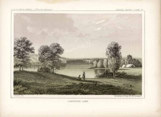 Lightning Lake. [Vintage Pacific Railroad Survey Lithograph]. MINNESOTA - NATIVE AMERICAN INDIANS