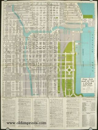 Large Scale Map of the Loop and Vicinity with a Detailed Transportation Map of Chicago. ILLINOIS...