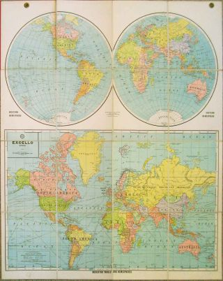 Mercator World and Hemispheres. Excello Series. WORLD MAP
