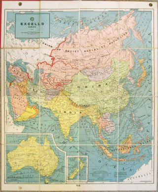 Untitled: Folding Map of Asia.] Excello Series. ASIA - WORLD WAR II ERA