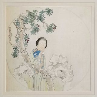Untitled Chinese painting on silk - woman in landscape with tree and rock. CHINA