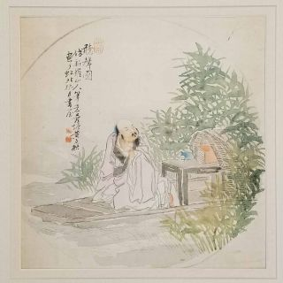 Untitled Chinese painting on silk - man on a deck in foliage surrounded landscape. CHINA