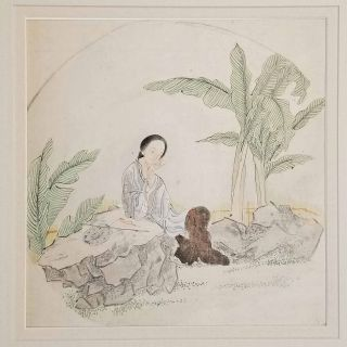 Untitled Chinese painting on silk - woman seated in landscape between rocks and trees. CHINA