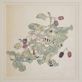 Untitled Chinese painting on silk - silkworms eating leaves on the branch of a berry tree. CHINA