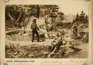 Primative Methods of Early Days (Pan, Rocker, and Arastra). CALIFORNIA / GOLD MINING