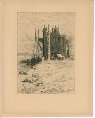 Coal Pockets at New Bedford, Mass.] [ORIGINAL ETCHING]. R. SWAIN GIFFORD