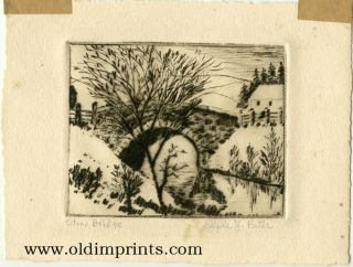 Stone Bridge. [ORIGINAL ETCHING]. BATAR - ARTIST'S PRINT