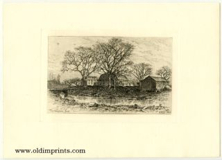 The Wayside Inn. [ORIGINAL ETCHING]. GARRETT - LONGFELLOW - MASSACHUSETTS