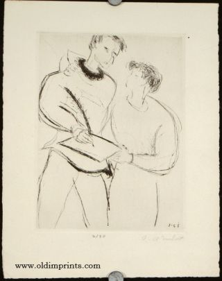 Untitled image of a two people, one signing a document. JEAN-CLAUDE IMBERT