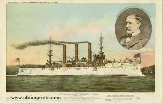 "U.S. Armored Cruiser ""Brooklyn"" - Flagship. U S. NAVY"