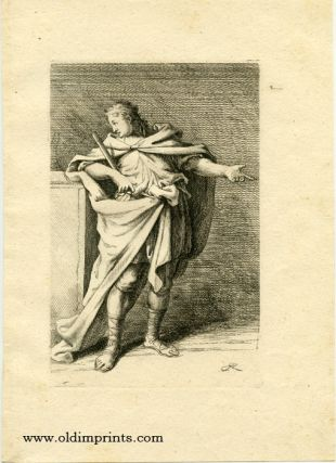 Untitled study of a gesturing male holding a paper scroll. [ORIGINAL ENGRAVING]. RIDINGER -...