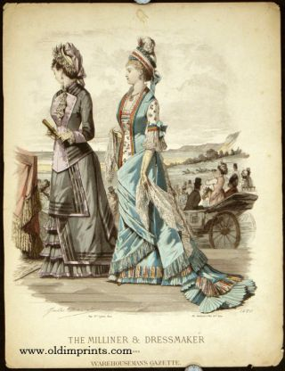 The Milliner & Dressmaker and Warehouseman's Gazette. Untitled fashion print no. 1420. 1870s FASHION