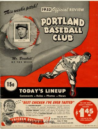 Portland Baseball Club. 1953 Official Review. OREGON BASEBALL - PORTLAND.