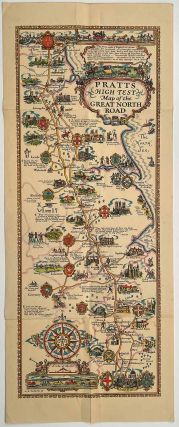 Pratts High Test Map of the Great North Road. ENGLAND