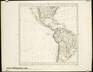 Untitled map showing portions of North, Central and South America, with Texas as a Republic....
