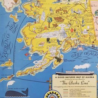 """A Good-Natured Map of Alaska showing the services offered by """"The Alaska Line"""" and suggesting some of the most interesting features of the Territory."""