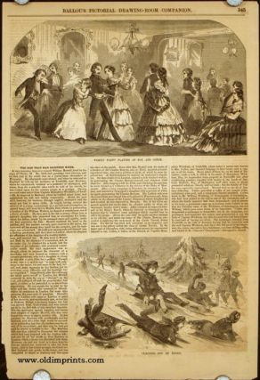 Blindman's Buff / Husking Party Finding the Red Ears / Family Party Playing at Fox and Geese / Coasting Out of Doors (article title: Thanksgiving in New England).