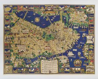 Colour of an Old City. A Map of Boston Decorative and Historical. [VINTAGE POSTER]....