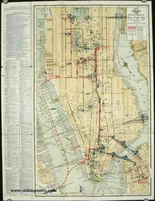 A Guide for a New Way to and from New York City. (Map title: Into the Heart of New York City. By Train & Motor Coach.)