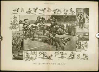"Harper's Weekly. COMPLETE ISSUE, including centerfold illustration ""The Quarter-back's Dream""..."