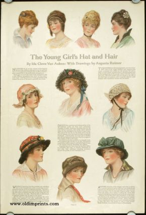 The Young Girl's Hat and Hair. / The New Party Dress. 1910s FASHION - HATS, Ida Cleve Van Auken