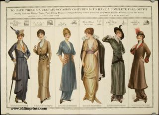 To Have These Six Certain-Occasion Costumes is to Have a Complete Fall Outfit. Flaring Coats and Flaring Tunies, Tight-Fitting Basques and High Standing Collars: These and Many Other Novelties Fashion Decrees This Season. 1910s FASHION - HATS.