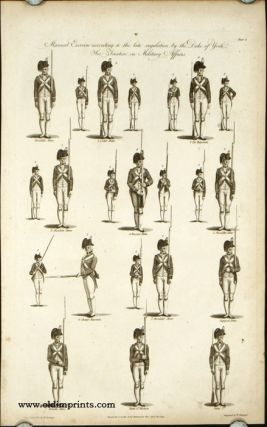 An exact representation of the Manual Exercise, according to modern Military Discipline / Manual Exercise according to the late regulation by the Duke of York. PAIR OF ENGRAVINGS.
